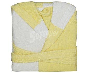 PRODUCTO ECONÓMICO ALCAMPO Albornoz rizo infantil color blanco y amarillo, 340 gramos/m², talla 12 años 1 Unidad