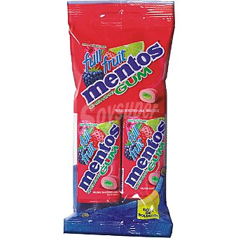 Mentos Chicle sin azúcar Full Fruit Pack 2 envase 15 unidades