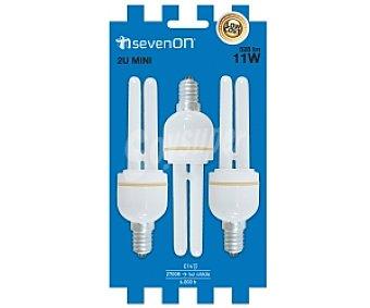 SEVENON Bombillas bajo consumo 2U 11W E14, luz suave 3 Unidades