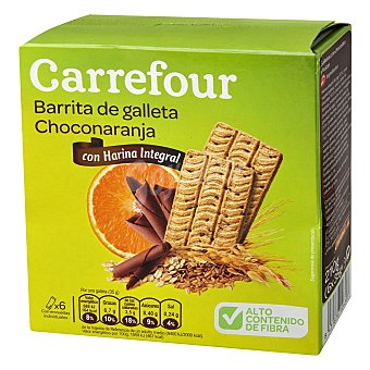 Carrefour Barritas de galleta sabor a chocolate y naranja 210 g