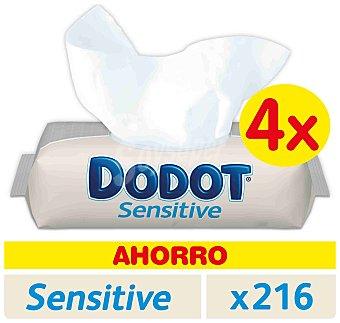 DODOT SENSITIVE Toallitas infantiles sin perfume envase 216 unidades pack 4 x 54 unidades