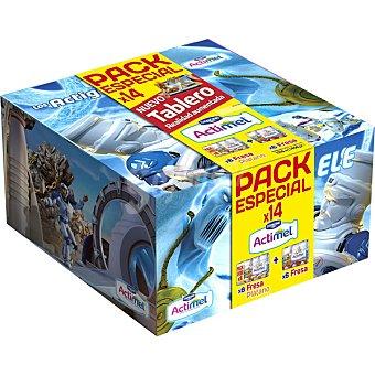 Actimel Danone Pack Actiguerreros yogur líquido sabor fresa 6 unidades + sabor plátano 8 unidades 100 g Pack 8+6 unidades