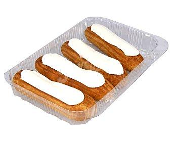 Eclairs rellenos de crema de vainilla 260 gr Pack de 4 uds