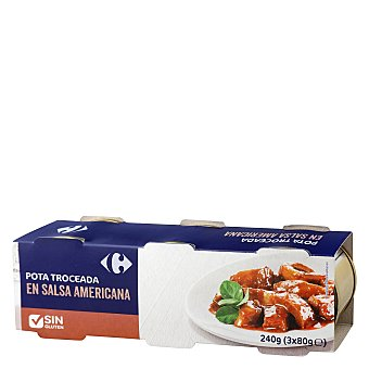 Carrefour Pota troceada en salsa americana Pack de 3x51 g