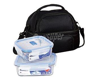 LUMINARC Bolsa porta alimentos, lunch bag, color negro, más dos recipientes herméticos de vidrio templado Pure Box Active 1 Unidad