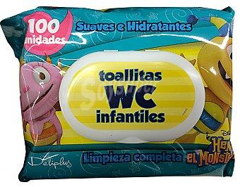 DELIPLUS Papel higiénico húmedo toallitas wc infantiles Paquete 100 unidades