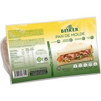 BEIKER pan de molde sin gluten y sin lactosa  envase 400 g