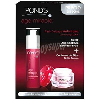 POND'S Age Miracle Pack cuidado anti-edad con fluido día renovador FPS-15 ojos dosificador 50 ml + contorno de ojos tarro 20 ml