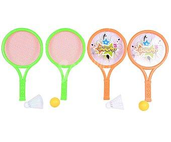 SNC Conjunto de 2 raquetas de tenis + 1 pelota y 1 volante, todo ello de plástico 1 unidad