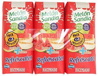 Hacendado Frutas+leche melon sandia (brick rojo) 3 x 330 cc