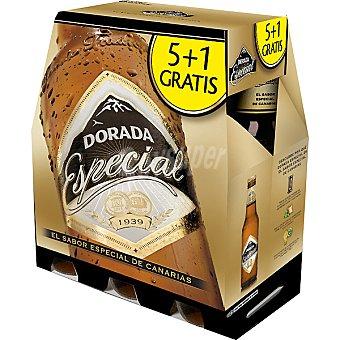 DORADA Especial Cerveza rubia nacional de Canarias pack 5 botella 25 cl + 1 botella gratis Pack 5 botella 25 cl