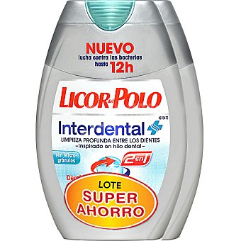 Licor del polo Dentífrico con elixir 2 en 1 Interdental lote súper ahorro Pack 2 tubo 75 ml