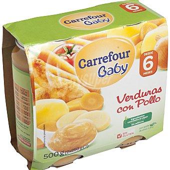 Carrefour Baby Tarrito de verduras con pollo Pack 2x250 g