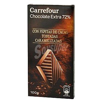 """Carrefour Chocolate extra negro con pepitas de cacao tostadas """"prestige"""" 100 g"""