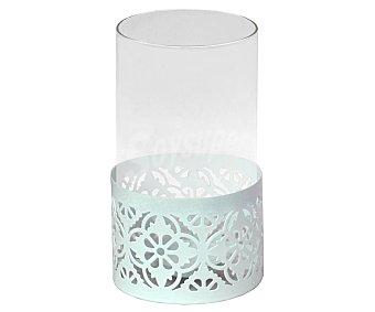 Sinder Portavela color blanco para decoración del hogar, diseño floral, Ø10X14,5 cm, sinder