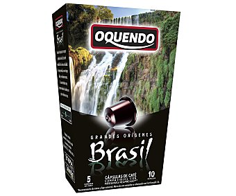 Oquendo Café de Brasil molido, tueste natural en monodosis 10 unidades de 50 gramos