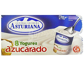 Central Lechera Asturiana Yogur natural azucarado Pack de 8x125 g