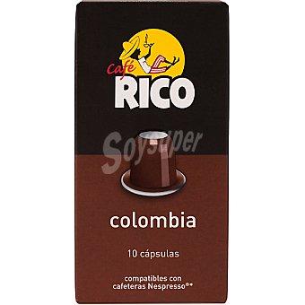 Rico Cafe Colombia 10 capsulas compatibles con maquinas Nespresso estuche 50 g 10 capsulas
