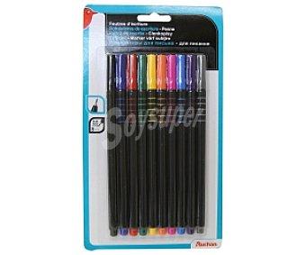 Auchan Caja de 10 rotuladores con punta fina de fibra, grosor de trazado de 0.4 milímetro y de diferentes colores 1 unidad