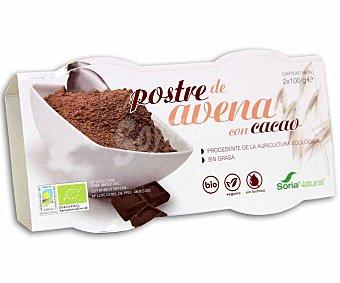 Soria Natural Postre ecológico de avena al cacao 100% natural, sin lactosa y sin grasa Pack de 2x100 gramos