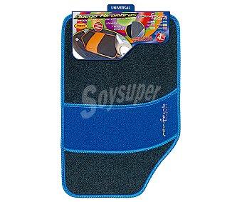 Rolmovil Juego de 4 alfombrillas universales de moqueta de alta calidad de color azul Confort.