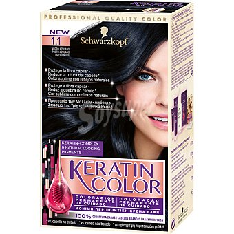 Keratin Color Schwarzkopf Tinte nº 1.1 negro azulado coloracion permanente de cuidado caja 1 unidad 1 unidad