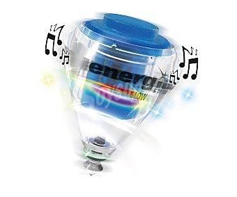 ENERGÍA Peonza con luz y música, punta giratoria extraíble con rodamiento metálico y aro interior nivelador de peso, para jugadores expertos, modelo beat&glow 1 unidad