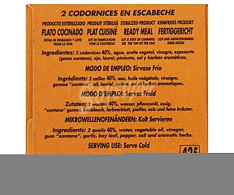 Polgri Codornices en escabeche (2 unidades) 390 Gramos