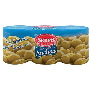 Serpis Aceituna rellena anchoa ligera Pack 3 latas x 50 g (neto escurrido)
