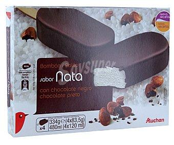 Auchan Bombón helado gigante de chocolate negro Pack de 4 unidades de 120 mililitros