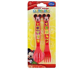 Disney Set de cubiertos modelo Fruits con imágenes de Mickey Mouse, 1 Cuchara y 1 Tenedor fabricados en polipropileno 1 Unidad