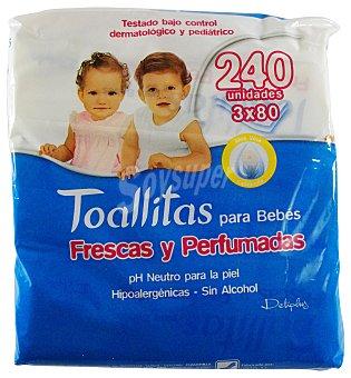 Deliplus Toallitas humedas bebe Pack 3x80