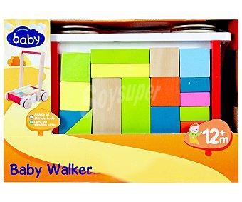 BABY Carrito con piezas de Madera de diferentes Formas y Colores encajables 1 Unidad