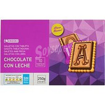 Eroski Galleta con tableta de chocolate con leche Caja 250 g