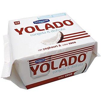 Yolado Danone yogur sabor coco para congelar  pack 4 unidades 75 g