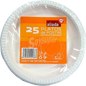 Aliada Plato blanco de plástico de postre 16,5 cm Paquete 25 unidades