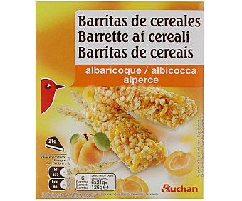 Auchan Cereales en barrita con trozos de albaricoque Pack de 6 uds