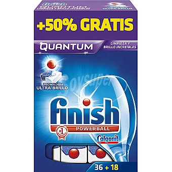 FINISH Calgonit detergente lavavajillas Power Ball Quantum  caja 36 pastillas + 18 gratis