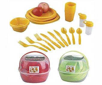 Euraspa Set de menaje para picnic con 36 piezas y cesta de transporte, EUROSPA.