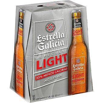 ESTRELLA GALICIA light cerveza rubia nacional especial  pack 6 botellas 33 cl