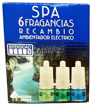 Bosque Verde Ambientador electrico recambio 3 aromas (6 sensaciones) spa u 25 cc