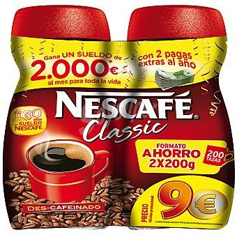 Nescafé Cafe soluble descafeinado Classic Pack 2 frasco 200 g