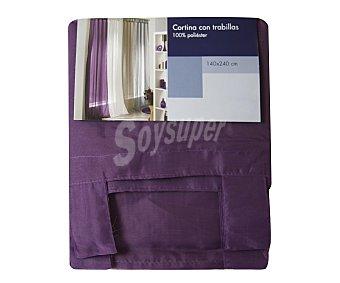 Auchan Cortina de visillo color morado con trabillas de tela, 140x240 centímetros 1 unidad
