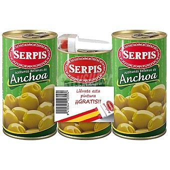 SERPIS aceitunas rellenas de anchoa + lata de 130 g y pintura de regalo pack 2 latas 150 g