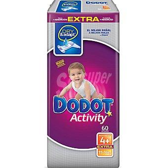 Dodot Activity Pañales de 11 a 16 kg talla 4+ Extra Paquete 60 unidades