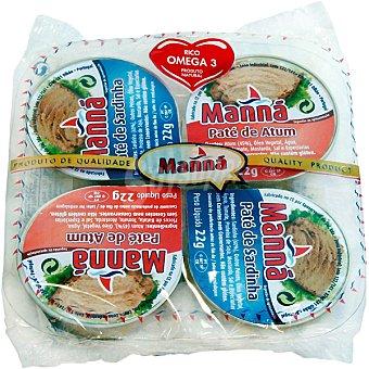 Manna Paté de atún y sardina neto escurrido Pack 4 lata 22 g