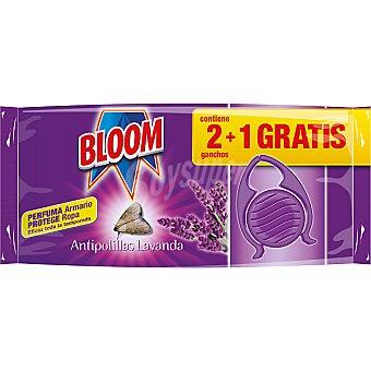 BLOOM ganchos antipolillas aroma Lavanda  envase 2 unidades + 1 gratis