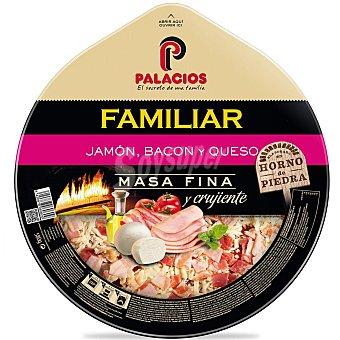 Palacios Pizza familiar de jamón, bacon y queso Unidad 580 g