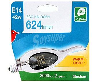 Auchan Bombilla ecohalógena vela golpe de viento de 42W, con casquillo E14 (fino) y luz cálida auchan.