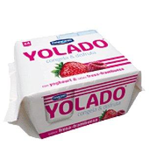 Danone - Yolado Yogur helado de Fresa y Frambuesa Danone pack de 4x75 g